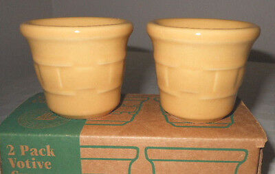 Longaberger Pottery Votives RARE BUTTERNUT YELLOW 2-pieces New in Box, USA Made