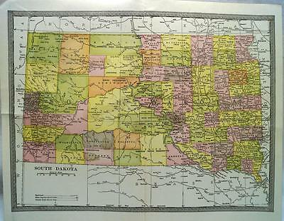 South Dakota State Map 1912 Vintage Scientific American Atlas Page