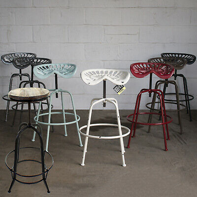 Bar Stool Rustic Tractor Seat Style Wooden Seat Kitchen Stool Adjustable Top