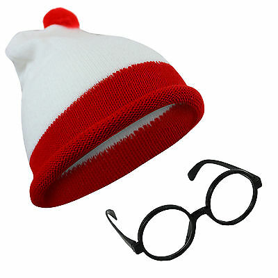 Red White Hat Glasses Unisex Adults Children Knitted World Book Day Halloween TV
