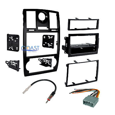 Car Stereo Double Din Dash Kit Harness Antenna Combo for 2005-2007 Chrysler 300