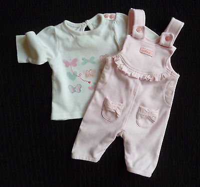 Baby clothes GIRL premature/tiny 6lbs/2.7kg pink dungarees outfit butterflies