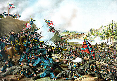 "Civil War Painting Battle of Franklin TN Large 12.5"" x 18"" Real Canvas Art Print"