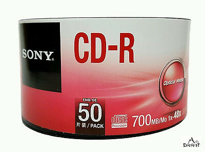 50 SONY Blank CD-R CDR Logo Branded 48X 700MB 80min Recordable Media Disc