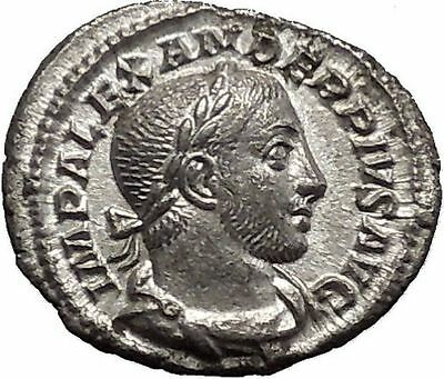 SEVERUS ALEXANDER Quality Ancient Silver Roman Coin Nude SOL Sun w whip i51135