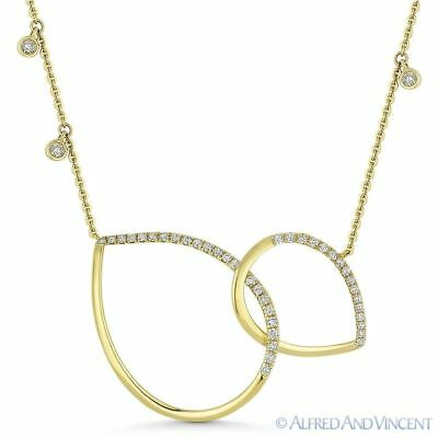 0.34 ct Round Diamond 14k Yellow Gold Double Tear Drop Pendant & Chain Necklace