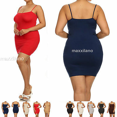 Womens Camisole Plus Size  Slip Dress Layering Tunic Tank Top Sexy Solid New