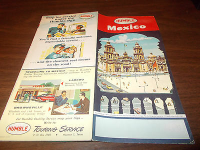 1960 Humble Oil Mexico Vintage Road Map /Mexico City Cathedral on Cover