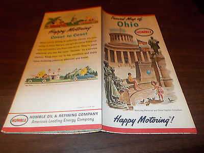 1963 Humble Oil OHIO Vintage Road Map /State Capitol on Cover