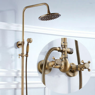 Antique Brass 8 Inch Bath Tub Shower Faucet Rain Shower Head With