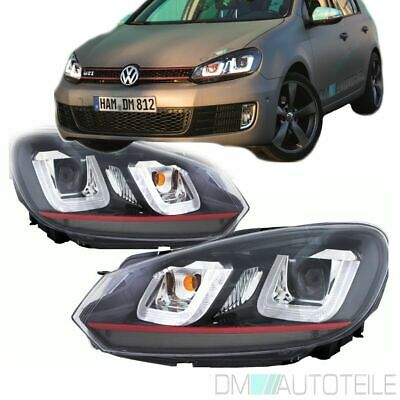 2x VW Golf 6 VI Scheinwerfer Set 08-12 Rote Leiste 3D TFL U LED Golf 7 GTI Look