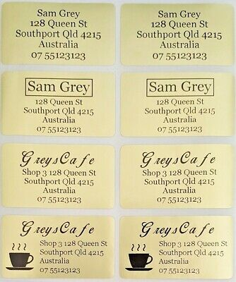 56 Gold Personalised Name / Address Label Stickers- XL (45*25mm) Dishwasher Safe