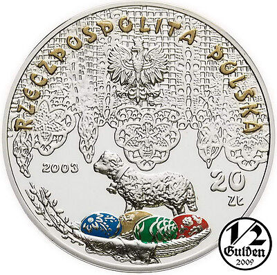 POLAND 20 Zlotych 2003 Wet Monday Śmigus Dyngus Silver Proof Coin Polish Mint