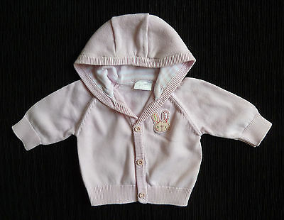Baby clothes GIRL newborn 0-1m 11lbs/5kg F&F hooded cotton rabbit cardigan pink