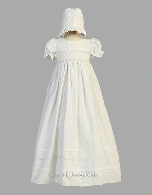 New Baby Girls White Long Gown Dress Christening Baptism Smocked Cotton Marie