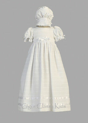 Baby Flower Girls White Embroidered Cotton Christening Dress Gown Baptism Infant