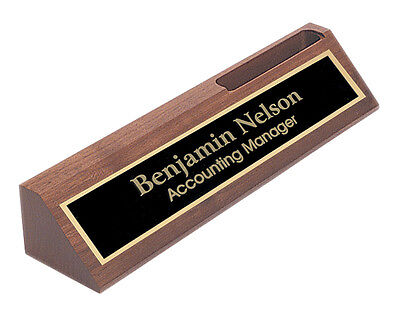 Personalized Walnut NAME PLATE BAR w/ Business Card Holder office desk