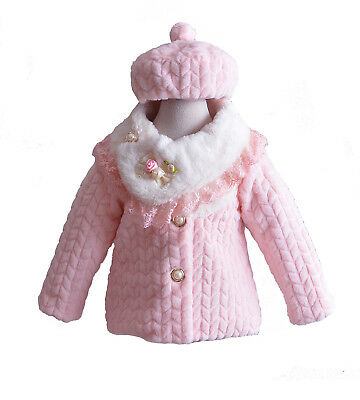 New Girls Pink Long Sleeves Coat with Hat in 2 3 4 5 6 Years