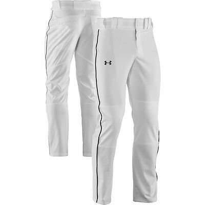 Under Armour UA Clean Up Open Relaxed Mens Baseball Pants White Black Piped
