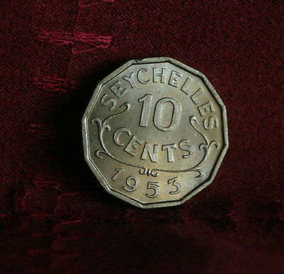 1953 Seychelles 10 Cents Unc World Coin KM10 Rare Low Mintage Africa