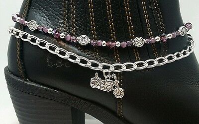 Boot Bling Anklet Chain Bracelet Jewelry Motorcycle Amethyst Crystals Biker Chic