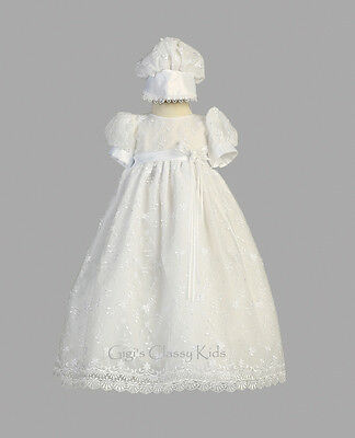 Infant Baby Flower Girls White Tulle Dress Gown Christening Baptism Embroidered