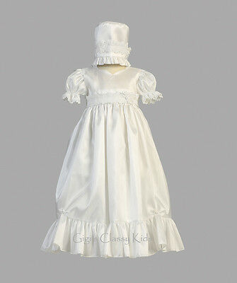 New Baby Girls White Taffeta Dress Gown Christening Baptism Bonnet 2 Pc Farrah