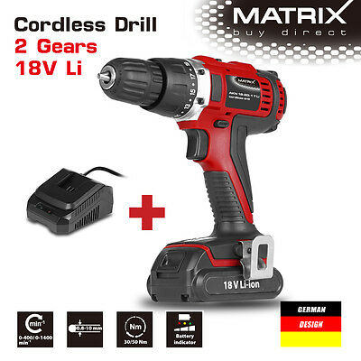 NEW MATRIX 18v Cordless Lithium Drill KIT (Drill + Lithium Battery + Charger)