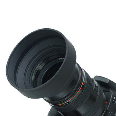 58mm 3-Stage Collapsible 3in1 Rubber Lens Hood for Canon Nikon DSLR Camera
