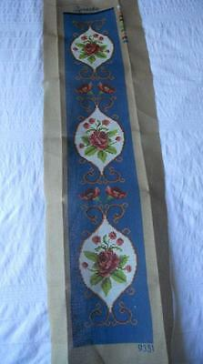 Vintage Printed Tapestry Canvas Roses Suit Wall Hanging Bell Pull  No Yarn Incl