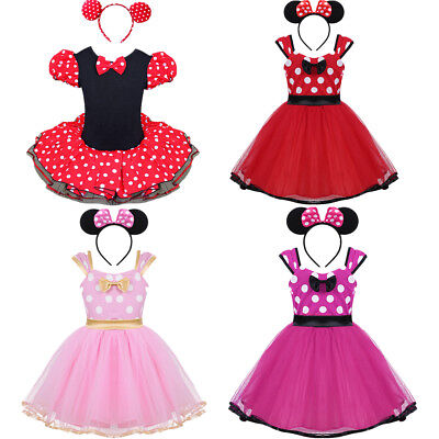 Kids Girls Baby Toddler Minnie Mouse Costume Birthday Party Tutu Dress Headband