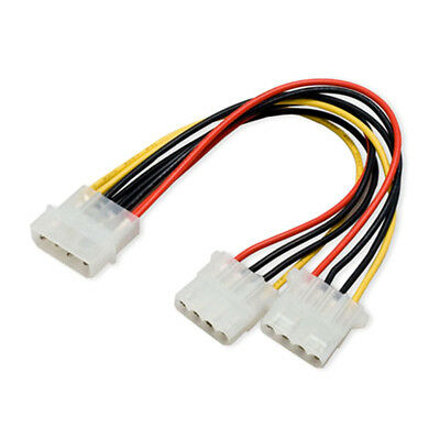 2pcs 4Pin Molex Male to 2x 4-Pin Molex IDE Female Power Y-Splitter Adapter Cable