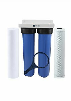 "Twin 20"" x 4.5"" Big Blue Whole House Water Filter System"