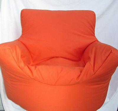 Cotton Orange Beanbag Arm Chair Seat With Polystyrene Beans Filling*