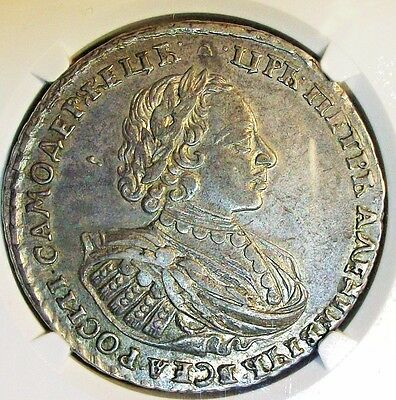 ≠Аψкa(1721) Russia Peter I (The Great) Silver Rouble Ngc Au-55