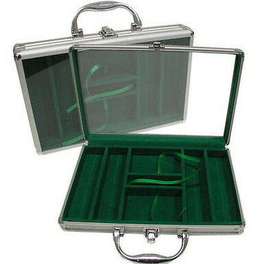 200 Aluminum Poker Chip Carrying Case Casino Playing Card Deck Game Blackjack