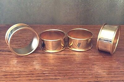 """International Silver Co Gold Electroplate 4 NAPKIN RINGS 2""""diameter 1""""t"""