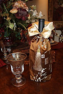 """Elegant Silk Wine Bag - """"Best Wishes"""" In Traditional Chinese Characters Motif"""