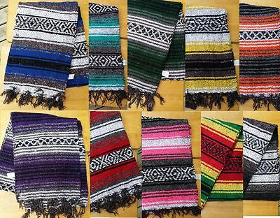 Mexican Falza Blanket Serape HalfSize Yoga Mat Table Runner 72x24 6x2 Falsa Thin