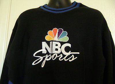 NBC Sports Embroidered Logo Sweatshirt Large Peacock Television Network NBA NFL