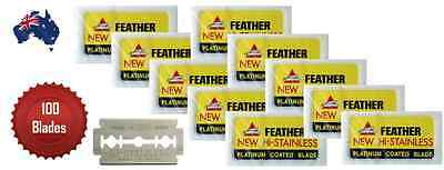 Feather Razor Blades Double Edge Platinum Coated Pack Of 100 - Aus Seller