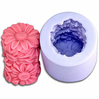 Flower Cylinder 3D Silicone Candle DIY Mold Handmade Craft Art Gift Soap Moulds