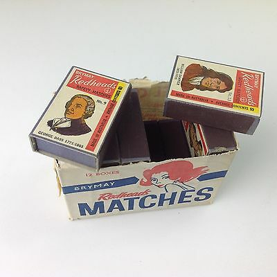 Vintage BRYMAY Redheads Matches 12 Boxes in original packaging