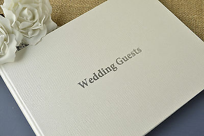 Ivory Wedding Guest Book - Textured Pearlescent Finish -  80 lined pages