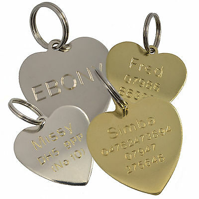 Dog Tag Cat tag Pet ID Disc Heart Shape Tags Engraved Personalised Brass Silver
