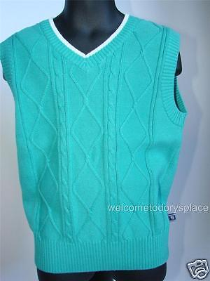 E Land American Classics Boys Green Cable Knit Cotton Vest size 6 Brand NEW NWT
