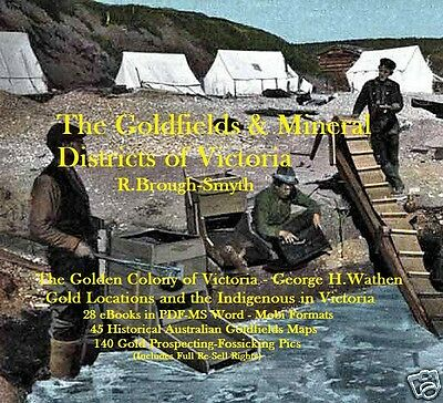 CD- Goldfields of Victoria - R Brough -28 eBooks-45 Maps + Pics (Resell Rights)