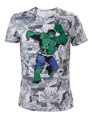 Official Marvel Comics The Incredible Hulk Comic All Over Print T-Shirt (New)