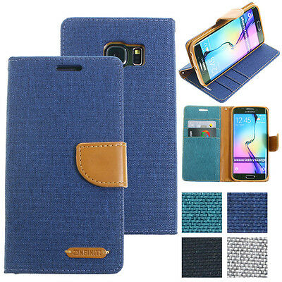 Genuine Zinfiniti Leather Wallet Canvas Case Cover Samsung Galaxy S6 edge+ Plus