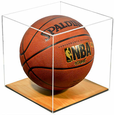 Clear Acrylic Full Size Basketball Display Case with Wood Floor (A008-CWB)